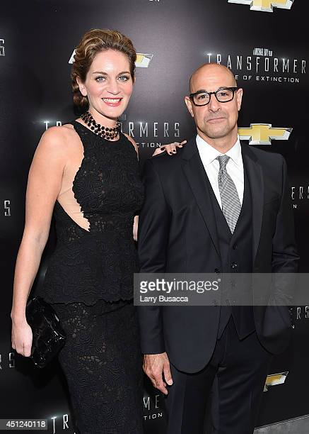 Felicity Blunt and actor Stanley Tucci attend the New York Premiere of Transformers Age Of Extinction at the Ziegfeld Theatre on June 25 2014 in New...