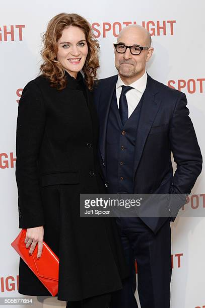 Felicity Blunt and Stanley Tucci arrive for the UK Premiere of Spotlight at The Washington Mayfair on January 20 2016 in London England