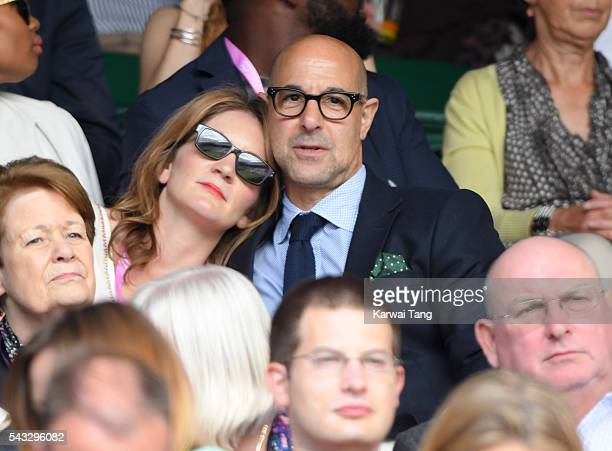 Felicity Blunt and Stanley Tucci attend day one of the Wimbledon Tennis Championships at Wimbledon on June 27 2016 in London England