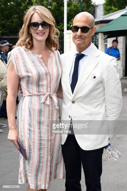 Felicity Blunt and Stanley Tucci attend day ten of the Wimbledon Tennis Championships at the All England Lawn Tennis and Croquet Club on July 12 2018...