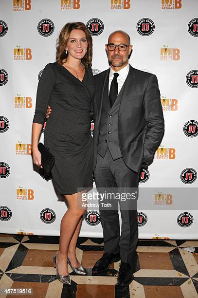Felicity Blunt and Stanley Tucci attend the 3rd Annual Mario Batali Foundation Benefit Dinner at Del Posto Ristorante on October 19 2014 in New York...