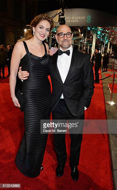 Felicity Blunt and Stanley Tucci attend the EE British Academy Film Awards at The Royal Opera House on February 14 2016 in London England