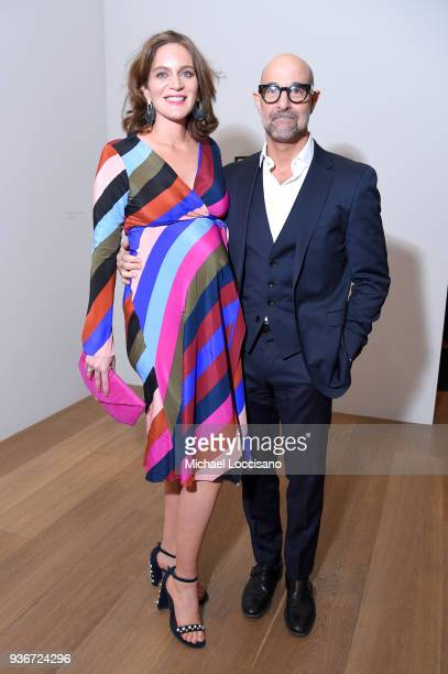 Felicity Blunt and Stanley Tucci attend the Final Portrait New York Screening After Party at Levy Gorvy Gallery on March 22 2018 in New York City