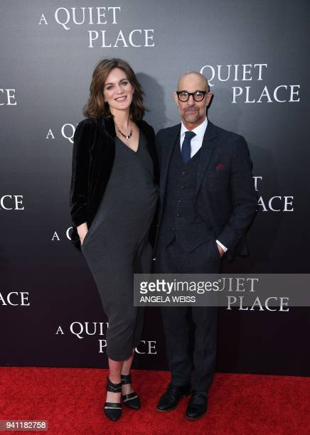 Felicity Blunt and Stanley Tucci attend the Paramount Pictures premiere for 'A Quiet Place' at AMC Lincoln Square Theater on April 2 2018 in New York...