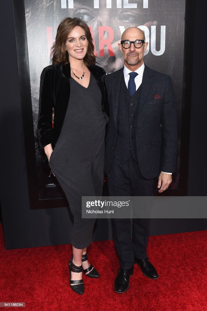 Felicity Blunt (L) and Stanley Tucci attend the Paramount Pictures New York Premiere of 'A Quiet Place' at AMC Lincoln Square theater onApril 2, 2018 in New York, New York.