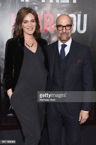 Felicity Blunt and Stanley Tucci attend the Paramount Pictures New York Premiere of 'A Quiet Place' at AMC Lincoln Square theater onApril 2 2018 in...