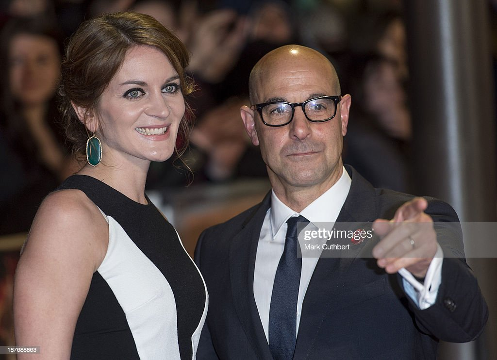 Felicity Blunt and Stanley Tucci attend the UK Premiere of 'The Hunger Games: Catching Fire' at Odeon Leicester Square on November 11, 2013 in London, England.