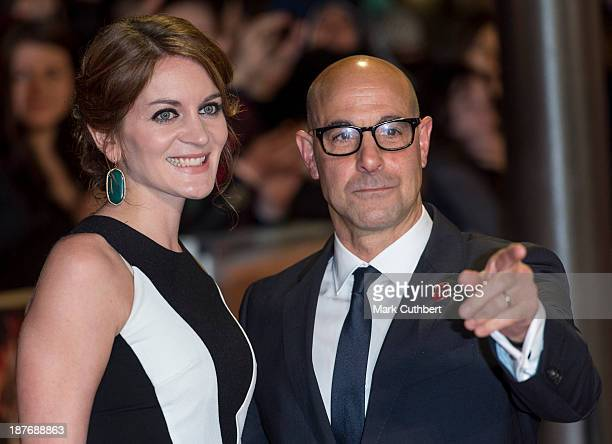 Felicity Blunt and Stanley Tucci attend the UK Premiere of The Hunger Games Catching Fire at Odeon Leicester Square on November 11 2013 in London...