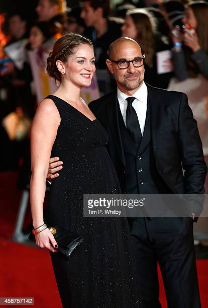 Felicity Blunt and Stanley Tucci attend the World Premiere of The Hunger Games Mockingjay Part 1 at Odeon Leicester Square on November 10 2014 in...