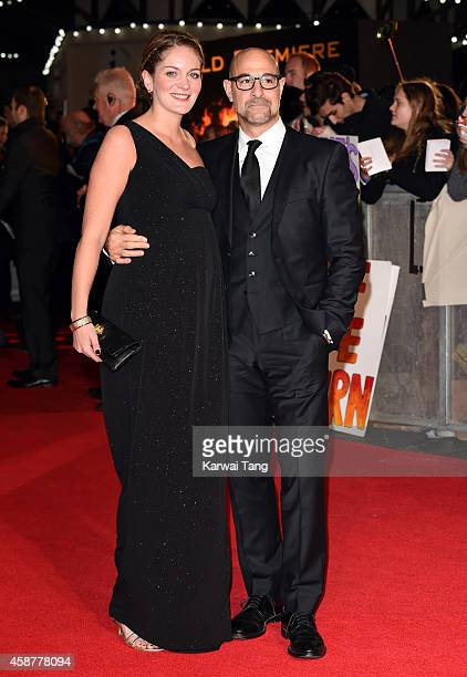 """Felicity Blunt and Stanley Tucci attend the World Premiere of """"The Hunger Games: Mockingjay Part 1"""" at Odeon Leicester Square on November 10, 2014 in..."""
