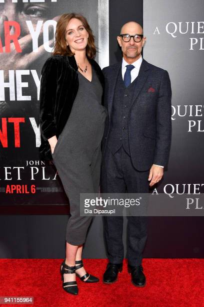 Felicity Blunt and Stanley Tucci attends the A Quiet Place New York Premiere at AMC Lincoln Square Theater on April 2 2018 in New York City