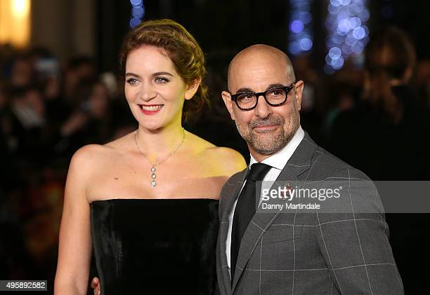 Felicity Blunt and Stanley Tucci attends The Hunger Games Mockingjay Part 2 UK premiere at Odeon Leicester Square on November 5 2015 in London England