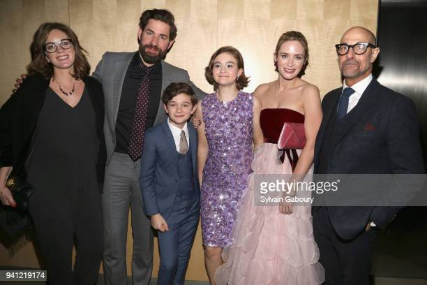 Felicity Blunt John Krasinski Noah Jupe Millicent Simmonds Emily Blunt and Stanley Tucci attend A Quiet Place New York Premiere After Party on April...