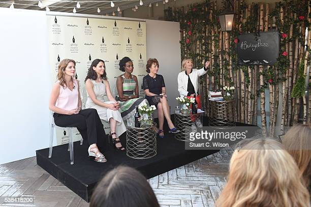 Felicity Blunt Leyla Hussein Hajar Woodland Kathy Lette and Kate Mosse on stage at the Baileys Women's Prize for Fiction Book Club at rooftop...