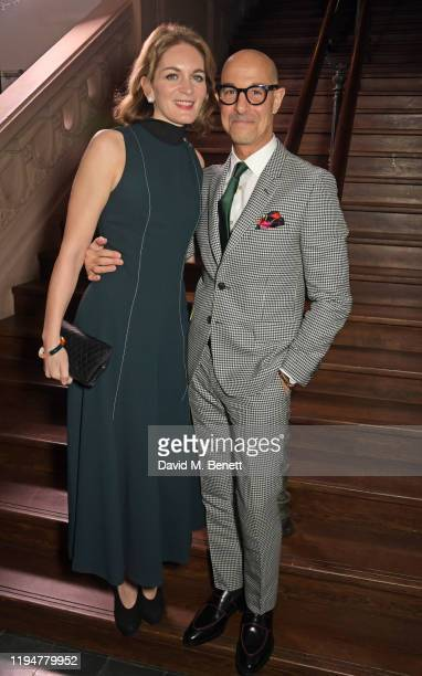 Felicity Blunt wearing Paul Smith and Stanley Tucci wearing Paul Smith attend an intimate dinner in celebration of 50 years of Paul Smith at Le...