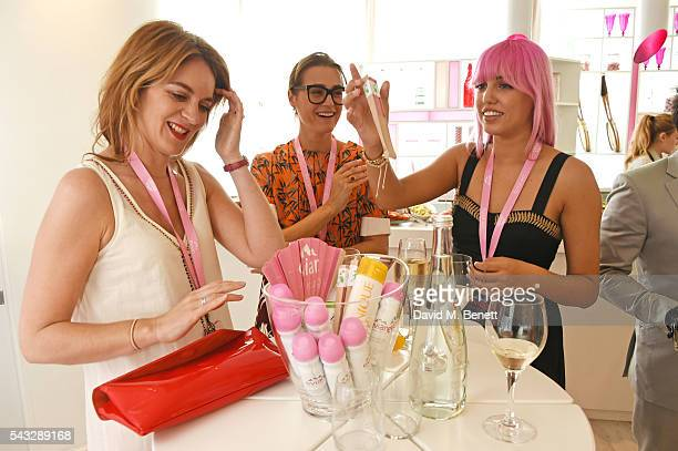 Felicity Blunt Yasmin Le Bon and Amber Le Bon attend the evian Live Young suite during Wimbledon 2016 at the All England Tennis and Croquet Club on...