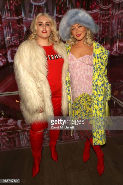 Felicity Hayward and Soki Mak attend the Melissa Galeria and Juno Calypso installation during London Fashion Week February 2018 at Galeria Melissa on...