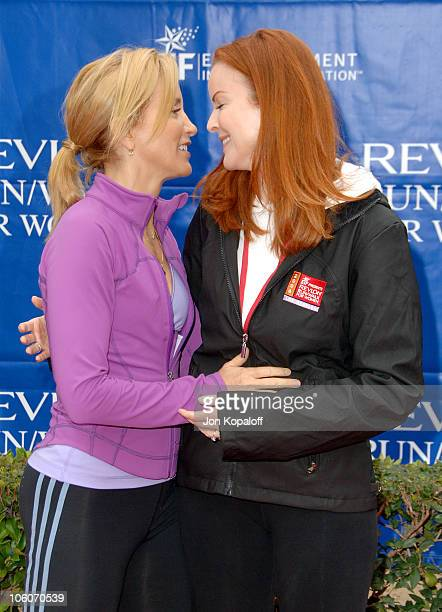 Felicity Huffman and Marcia Cross during The 13th Annual Revlon Run/Walk For Women Los Angeles at Los Angeles Memorial Coliseum in Los Angeles...