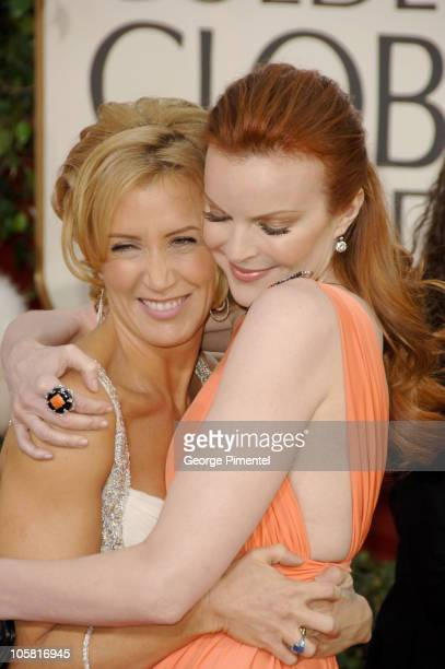 Felicity Huffman and Marcia Cross during The 63rd Annual Golden Globe Awards Arrivals at Beverly Hilton Hotel in Beverly Hills California United...