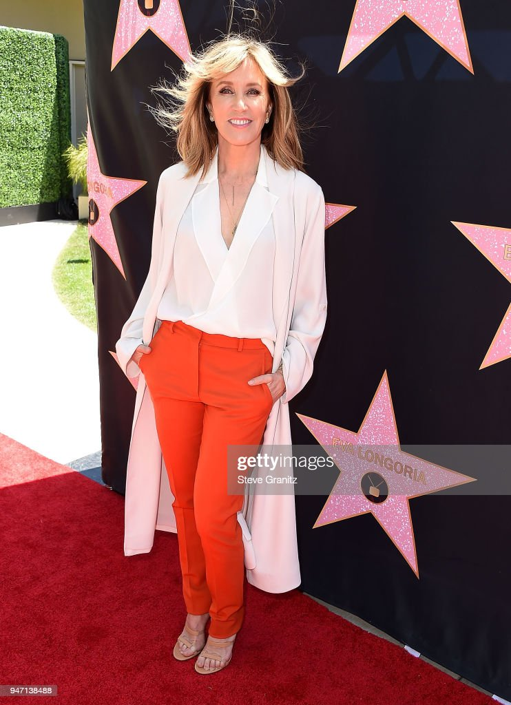 Felicity Huffman arrives at the Eva Longoria's Hollywood Star Ceremony Post-Luncheon on April 16, 2018 in Beverly Hills, California.