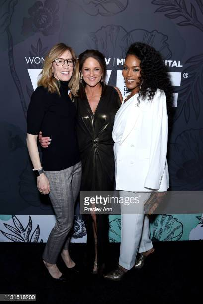 Felicity Huffman, Cathy Schulman and Angela Bassett wearing Max Mara attend the 12th Annual Women in Film Oscar Nominees Party Presented by Max Mara...