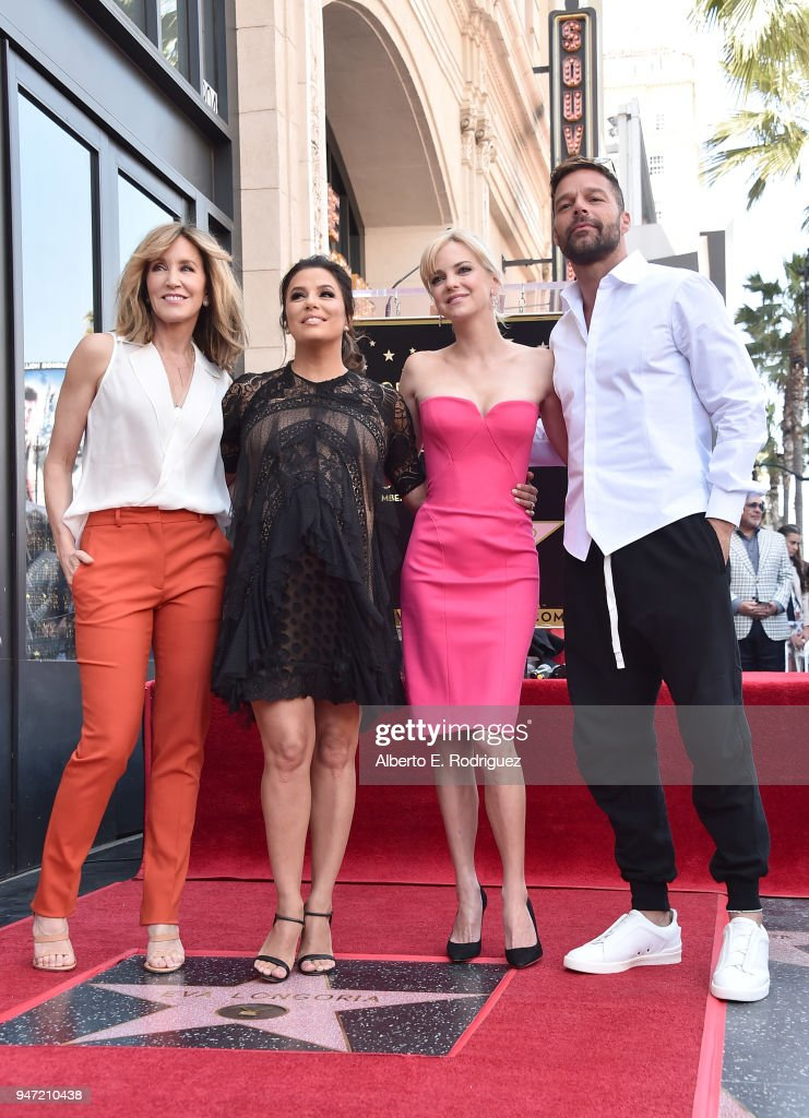 Felicity Huffman, Eva Longoria, Ana Faris and Ricky Martin attend a ceremony honoring Eva Longoria with the 2,634th Star on the Hollywood Walk of Fame on April 16, 2018 in Hollywood, California.