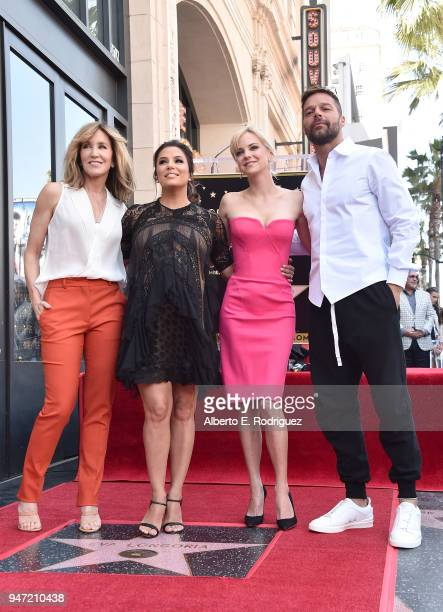 Felicity Huffman Eva Longoria Ana Faris and Ricky Martin attend a ceremony honoring Eva Longoria with the 2634th Star on the Hollywood Walk of Fame...