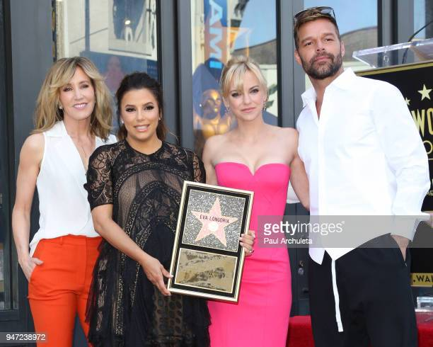 Felicity Huffman Eva Longoria Anna Faris and Ricky Martin attend the ceremony to honor Eva Longoria with a Star on The Hollywood Walk Of Fame on...