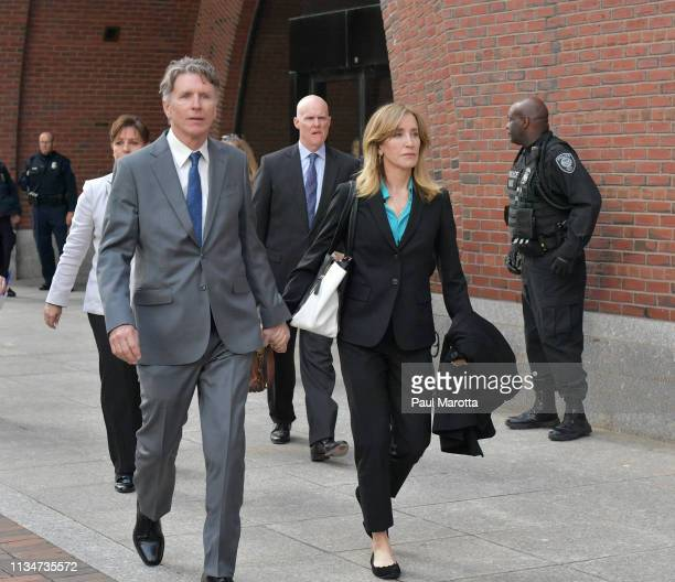 Felicity Huffman exits the John Joseph Moakley US Courthouse after appearing in Federal Court to answer charges stemming from college admissions...