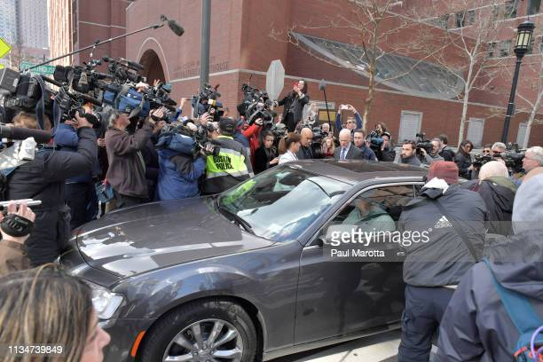 Felicity Huffman exits the John Joseph Moakley U.S. Courthouse after appearing in Federal Court to answer charges stemming from college admissions...