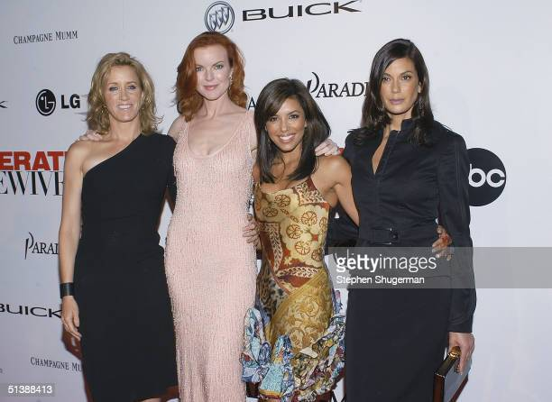 Felicity Huffman Marcia Cross Eva Longoria and Teri Hatcher attend the Desperate Housewives Premiere Party on October 3 2004 at Barney's in Beverly...