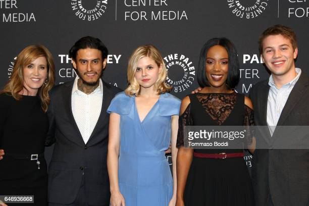 Felicity Huffman Richard Cabral Ana MulvoyTen Mickaelle X Bizet and Connor Jessup attend The Paley Center For Media Presents A Premiere Screening And...