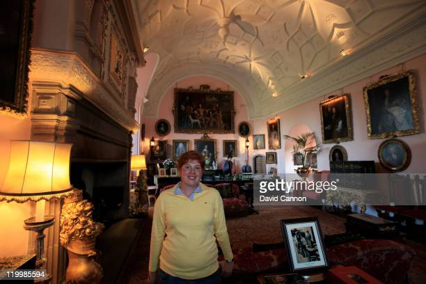 Felicity Johnson of England poses in the Drawing Room at Glamis Castle during the Championship Committee Drinks Reception prior to the 2011 Ricoh...