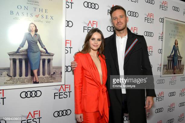 Felicity Jones and Armie Hammer attend the Opening Night World Premiere Gala Screening of 'On The Basis Of Sex' at AFI FEST 2018 Presented By Audi at...