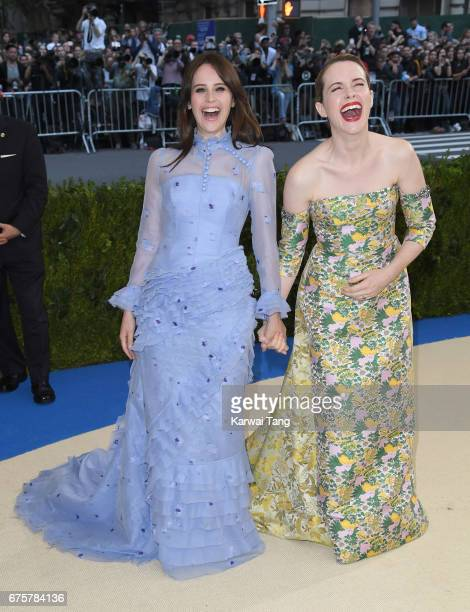 Felicity Jones and Claire Foy attend the 'Rei Kawakubo/Comme des Garcons Art Of The InBetween' Costume Institute Gala at the Metropolitan Museum of...