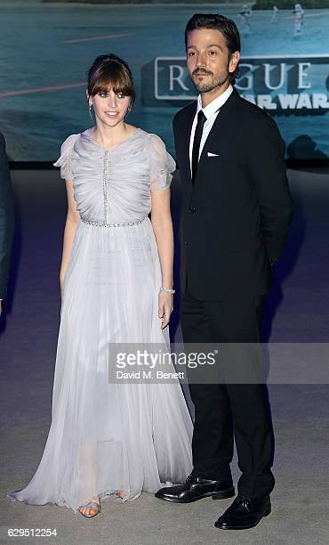 Felicity Jones and Diego Luna attend the launch event for 'Rogue One A Star Wars Story' at the Tate Modern on December 13 2016 in London England