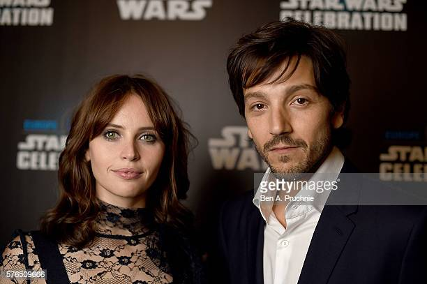 Felicity Jones and Diego Luna attend the Star Wars Celebration at ExCel on July 15 2016 in London England