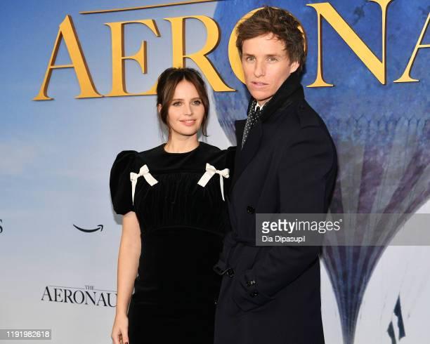 Felicity Jones and Eddie Redmayne attend The Aeronauts New York Premiere at SVA Theater on December 04 2019 in New York City