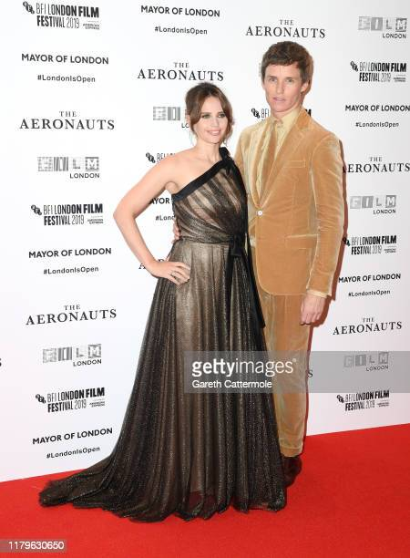 Felicity Jones and Eddie Redmayne attend The Aeronauts UK Premiere during the 63rd BFI London Film Festival at the Odeon Luxe Leicester Square on...