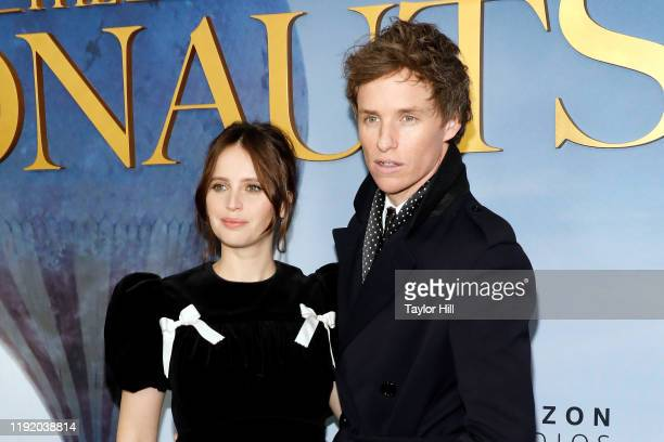 Felicity Jones and Eddie Redmayne attend the premiere of The Aeronauts at SVA Theater on December 04 2019 in New York City