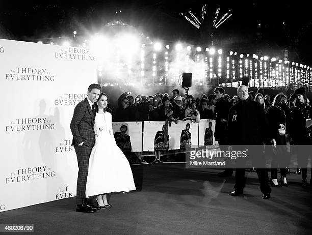 """Felicity Jones and Eddie Redmayne attend the UK Premiere of """"The Theory Of Everything"""" at Odeon Leicester Square on December 9, 2014 in London,..."""