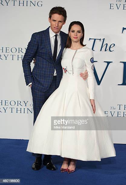 """Felicity Jones and Eddie Redmayne attends the UK Premiere of """"The Theory Of Everything"""" at Odeon Leicester Square on December 9, 2014 in London,..."""