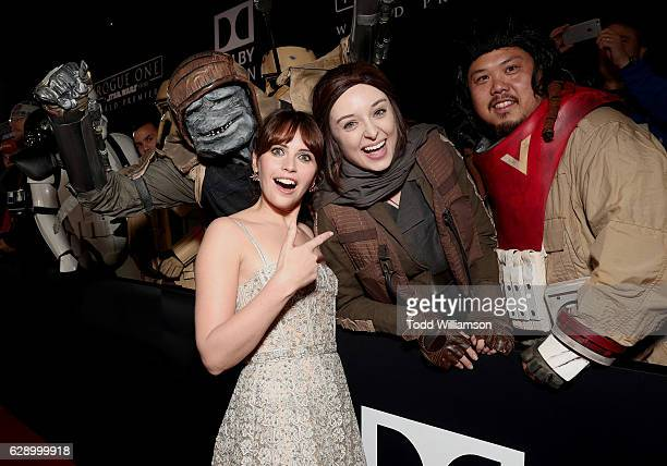 Felicity Jones and fans take a picture at the premiere of Walt Disney Pictures And Lucasfilm's 'Rogue One A Star Wars Story' at the Pantages Theatre...