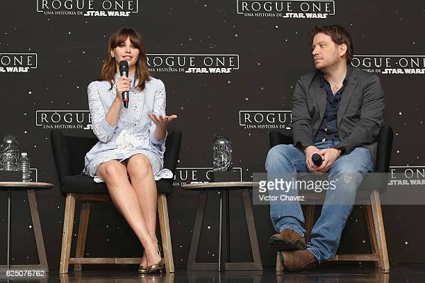 Felicity Jones and film director Gareth Edwards attend a press conference to promote the film Rogue One A Star Wars Story at St Regis Hotel on...
