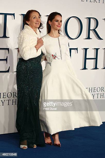 Felicity Jones and Jane Hawking attends the UK Premiere of The Theory Of Everything at Odeon Leicester Square on December 9 2014 in London England