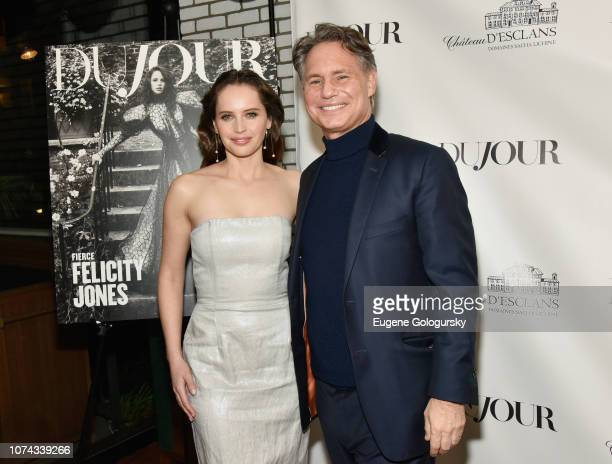 Felicity Jones and Jason Binn attend as DuJour cover star Felicity Jones celebrates their winter issue with CEO and Founder Jason Binn presented by...