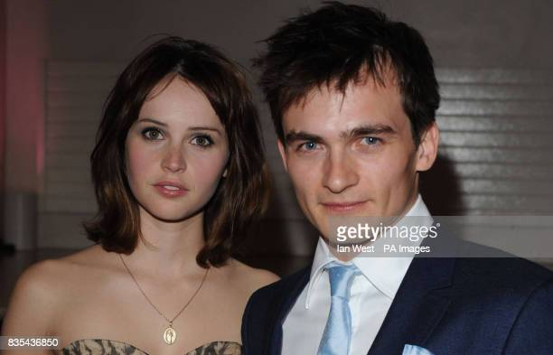 Felicity Jones and Rupert Friend arrive for the UK premiere of Cheri at the Cine Lumiere London