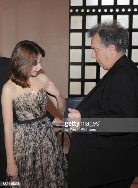 Felicity Jones and Stephen Frears arrive for the UK premiere of Cheri at the Cine Lumiere London