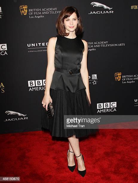 Felicity Jones arrives at the BAFTA Los Angeles Jaguar Britannia Awards held at The Beverly Hilton Hotel on October 30, 2014 in Beverly Hills,...