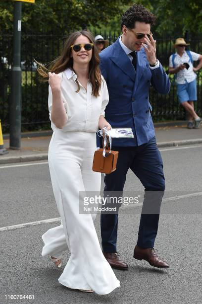 Felicity Jones attends day 7 of the Wimbledon 2019 Tennis Championships at All England Lawn Tennis and Croquet Club on July 08 2019 in London England